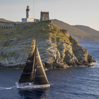 RAMBLER, EVENTUAL LINE HONOURS WINNER, WAS THE FIRST YACHT TO ROUND THE GIRAGLIA ROCK