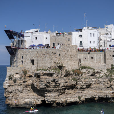 David Colturi of the USA dives from the 27 metre platform during the final competition day of the third stop of the Red Bull Cliff Diving World Series in Polignano a Mare, Italy on June 2, 2019. // Romina Amato/Red Bull Content Pool // AP-1ZHATG8PW2111 // Usage for editorial use only // Please go to www.redbullcontentpool.com for further information. //