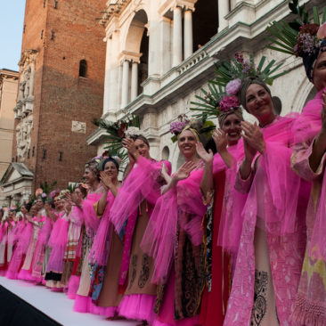 """Piazza dei Signori in Vicenza paid tribute to """" Defilé della Rinascita"""". A profound and touching moment, as models have paraded women fighting against cancer."""
