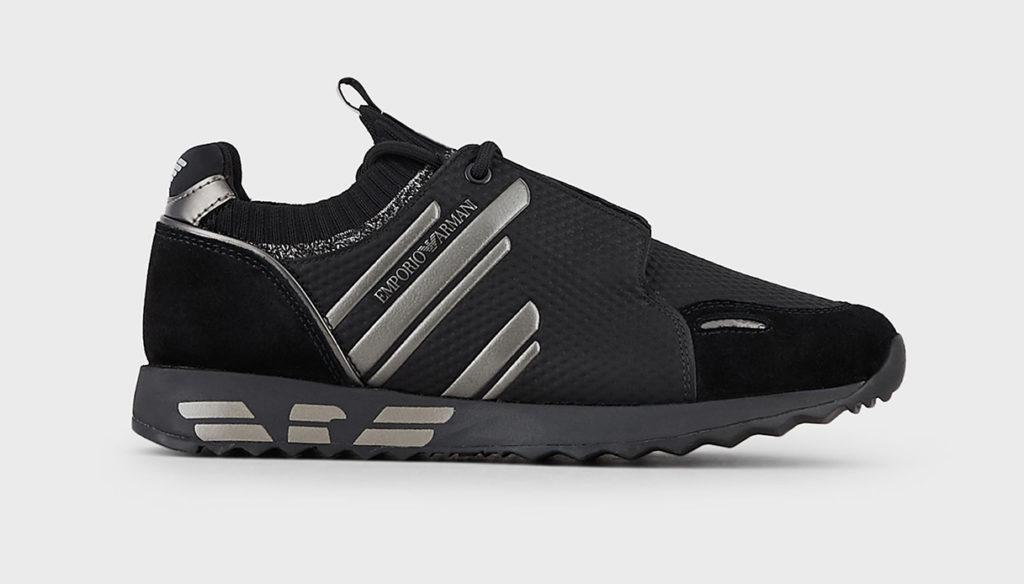 Sneakers zigrinate con dettagli suede di Emporio Armani