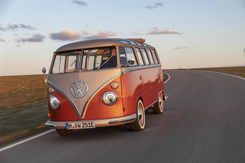 Volkswagen Commercial Vehicles unveils the e-Bulli prototype.The model is a Samba T1 66 restored and equipped with an electric engine of latest generation.