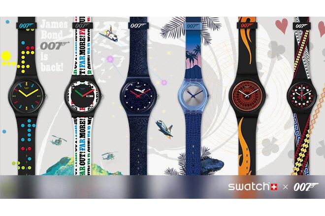 Swatch lancia una nuova collezione, in edizione esclusiva e limitata, di modelli di orologi ispirati ad alcuni di iconici film della saga 007.