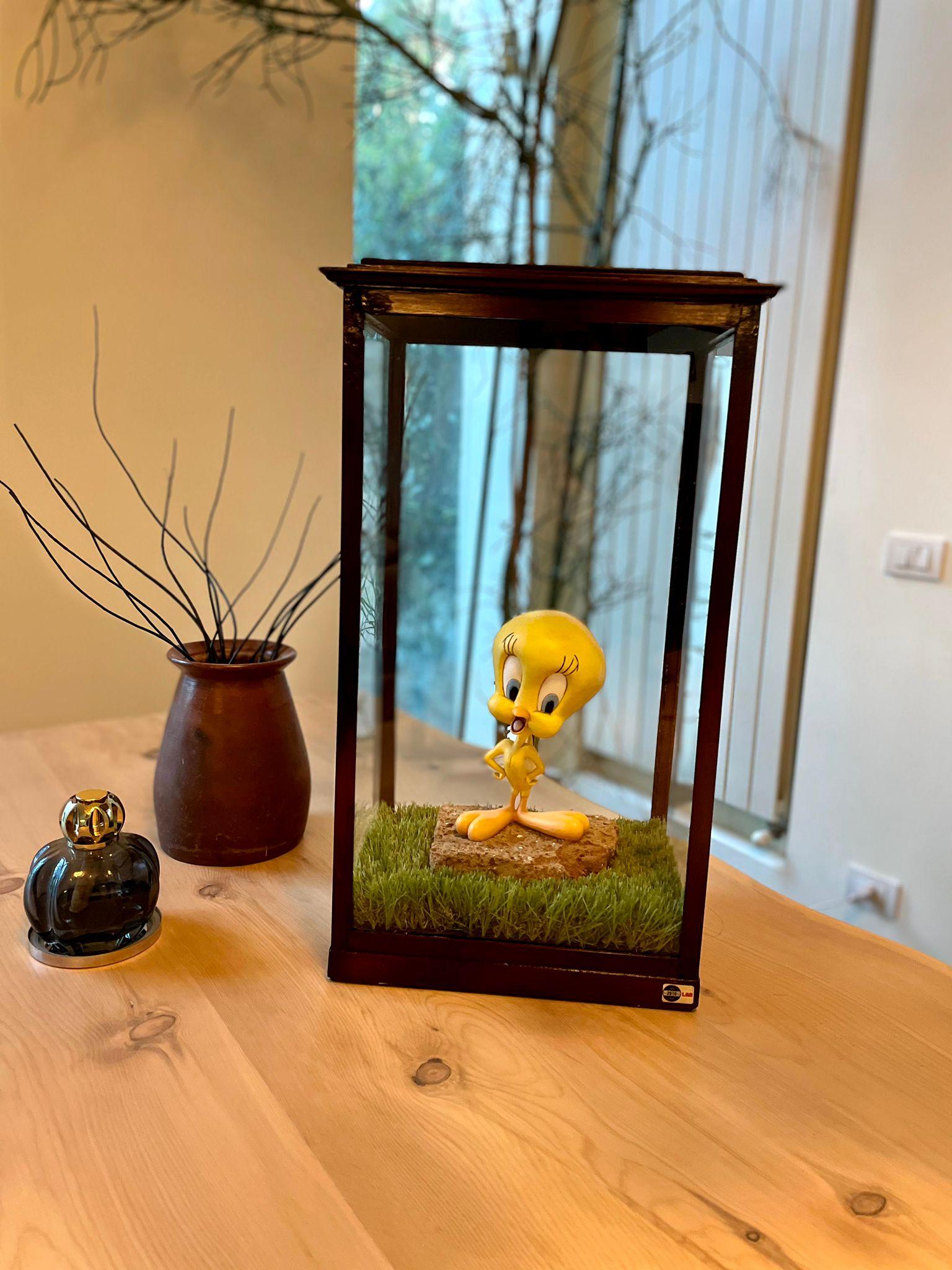 Tweety contenuto in teca vetro e legno di fine '800, la nuova creazione per gli amanti del collezionismo vintage realizzata da Cristian Sutti.